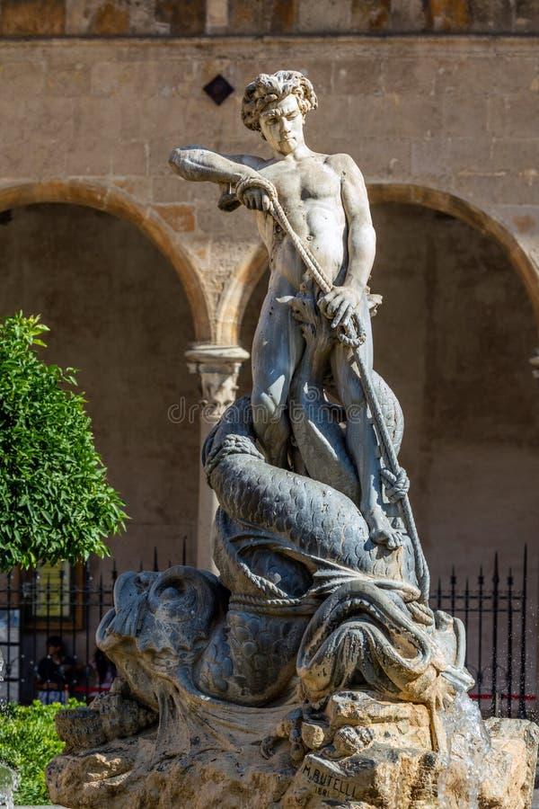 Fuente de Tritón en Monreale imagen de archivo