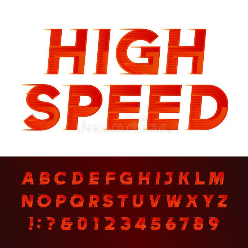 Fuente de vector de alta velocidad del alfabeto Letras y números del efecto del movimiento libre illustration