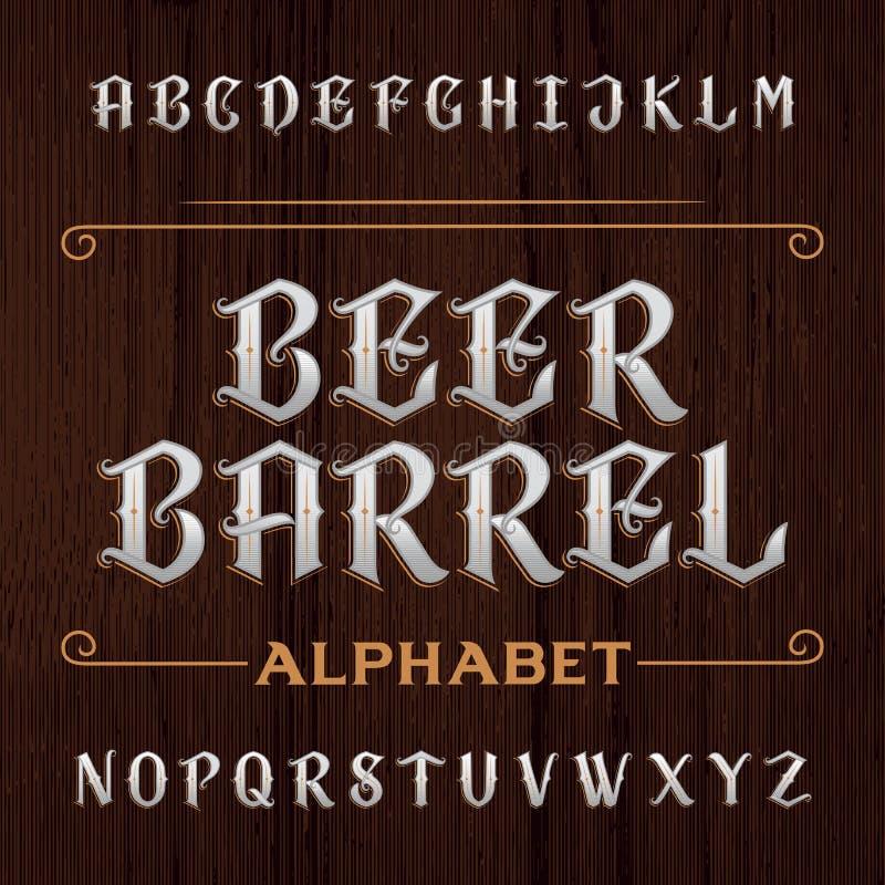 Fuente de vector decorativa vieja del alfabeto Mecanografíe las letras en el fondo de madera oscuro ilustración del vector