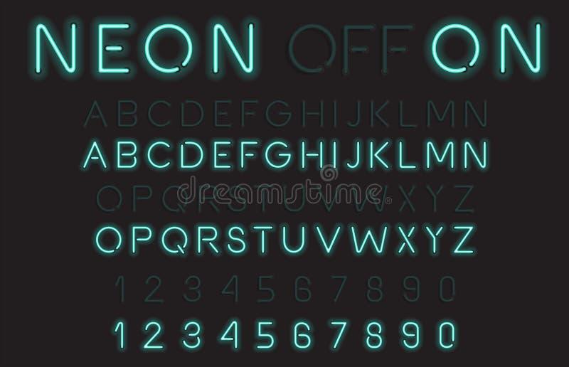 Fuente de vector del alfabeto de la luz de neón ilustración del vector