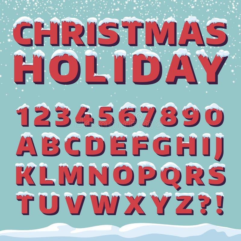 Fuente de vector del día de fiesta de la Navidad Letras retras 3d con los casquillos de la nieve ilustración del vector