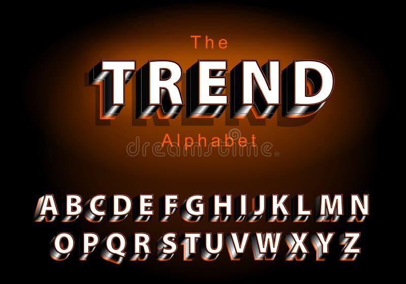 Fuente de vector del extracto moderno y del alfabeto creativo 3D stock de ilustración