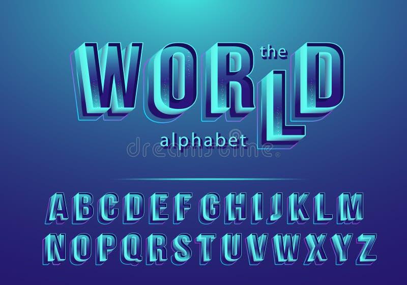 Fuente de vector del extracto moderno y del alfabeto creativo 3D ilustración del vector