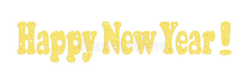 Fuente de vector del queso Texto: ¡Feliz Año Nuevo! Temas de los nuevo 2020 años Dedicado al año de la rata ilustración del vector