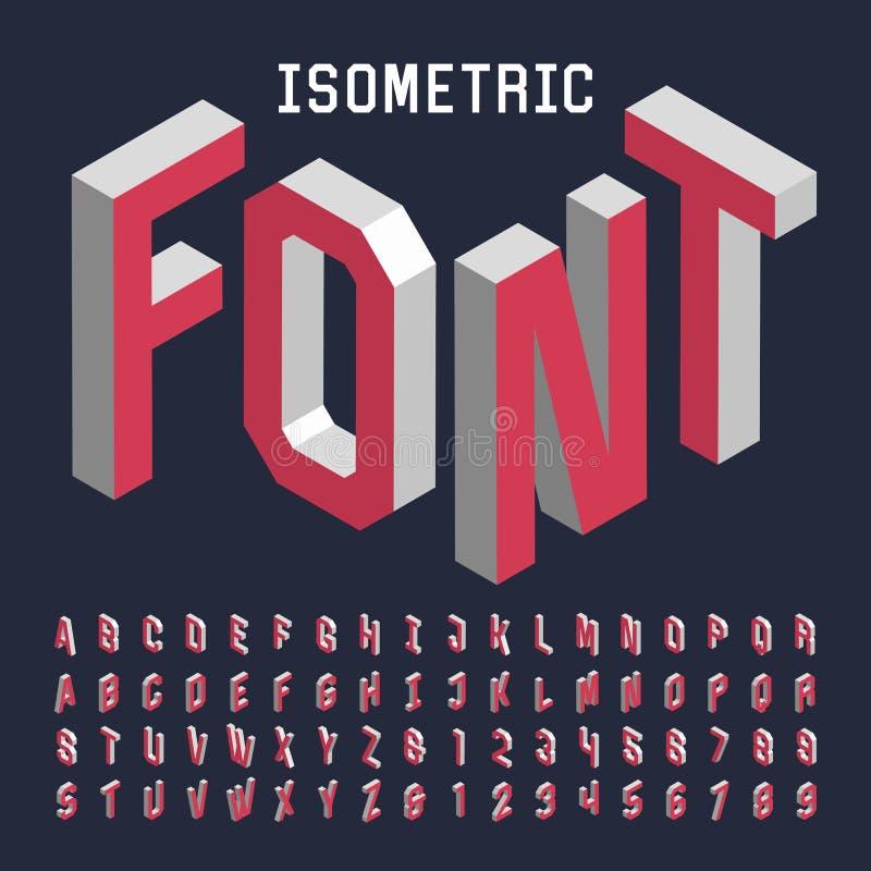 fuente de vector isométrica del alfabeto 3d stock de ilustración