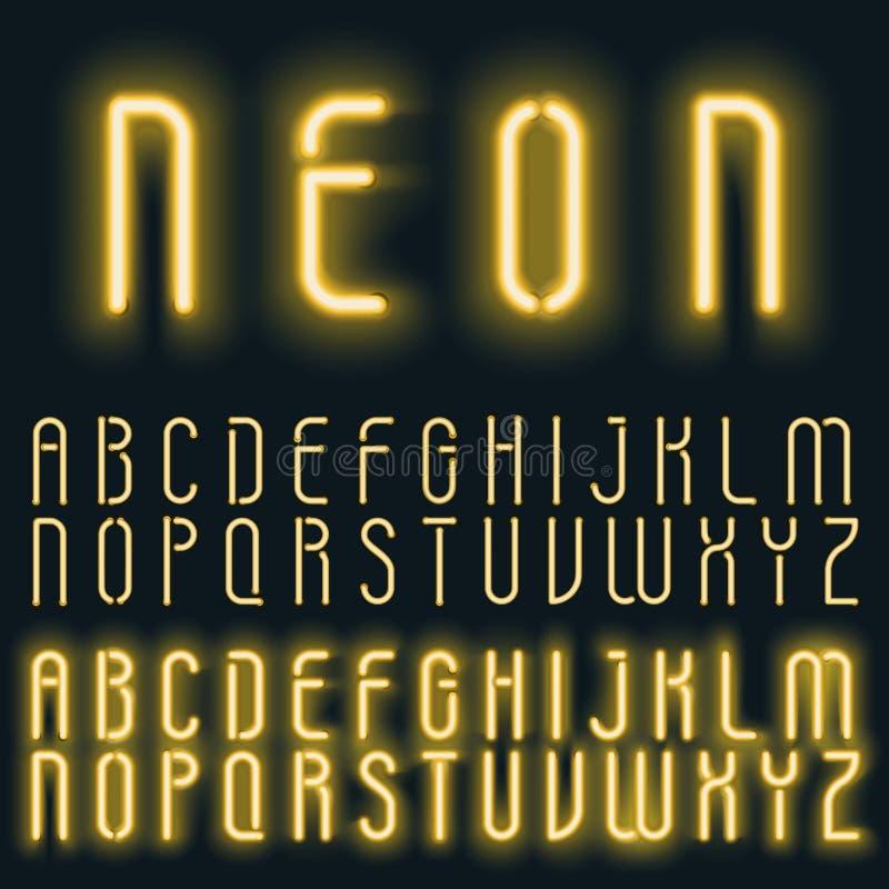 Fuente de vector de oro de neón del alfabeto de la luz ámbar Efecto del texto que brilla intensamente Letras del tubo de neón en  ilustración del vector