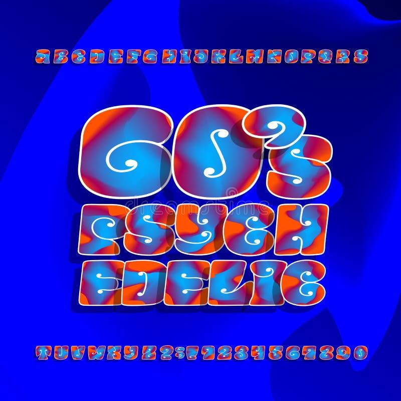 Fuente de vector psicodélica del alfabeto Letras y números exhaustos de la mano en estilo del hippy 60s en un fondo brillante libre illustration