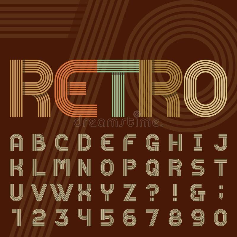 Fuente de vector retra del alfabeto de la raya del estilo stock de ilustración