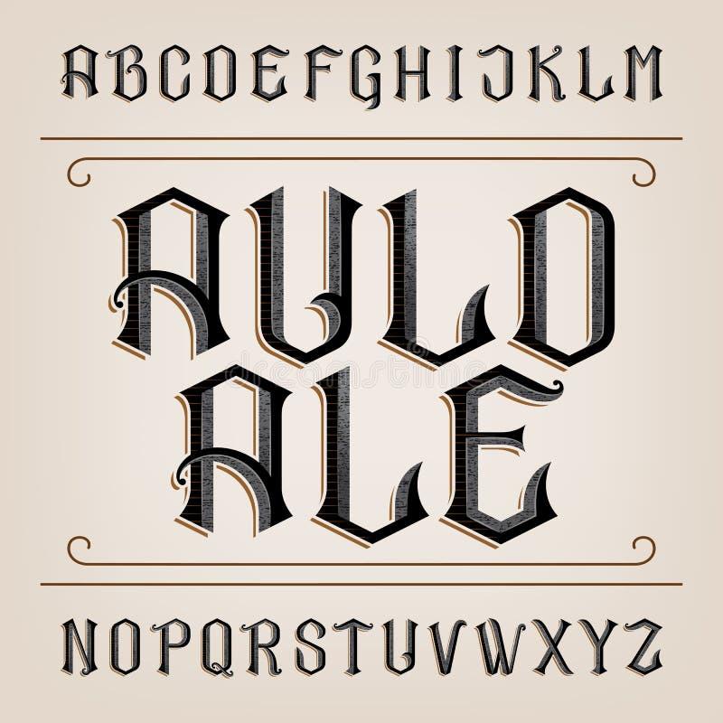 Fuente de vector vieja del alfabeto Letras dibujadas mano apenadas libre illustration