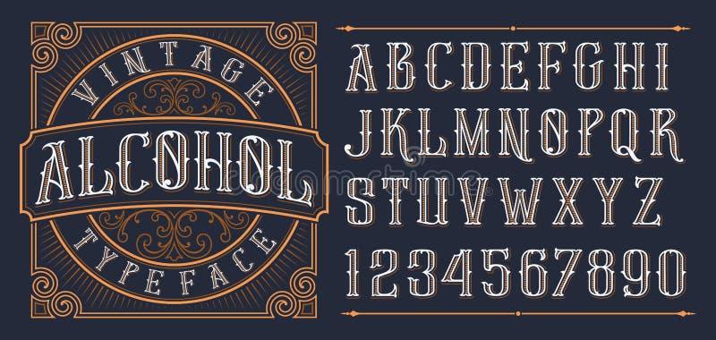 Fuente decorativa del vintage en estilo occidental en el fondo oscuro libre illustration