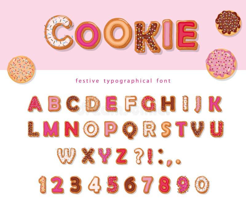 Fuente decorativa dibujada mano de la galleta Letras y números dulces de ABC de la historieta Para las tarjetas del cumpleaños o  ilustración del vector