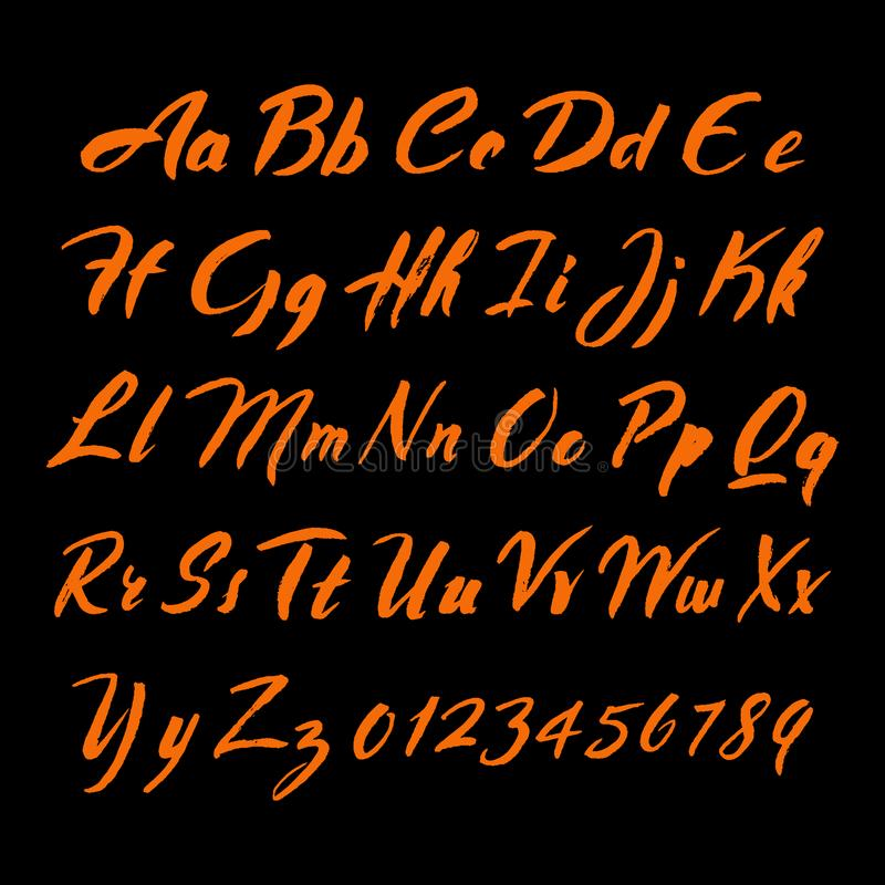 Fuente del alfabeto de la escritura del cepillo Letras y números dibujados mano ilustración del vector