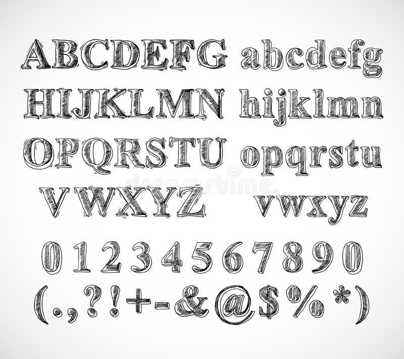 Fuente del alfabeto del bosquejo libre illustration