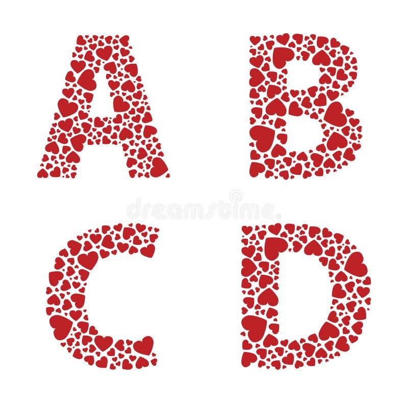 Fuente del alfabeto del corazón stock de ilustración