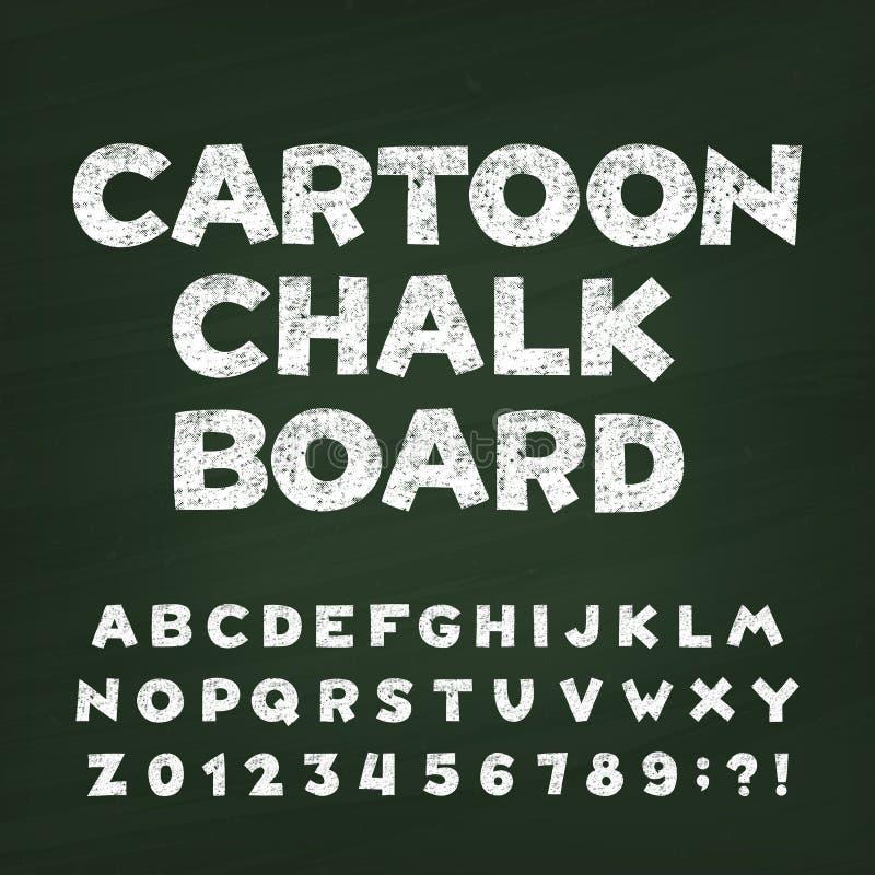 Fuente del alfabeto del tablero de tiza de la historieta Letras, números y símbolos dibujados mano stock de ilustración