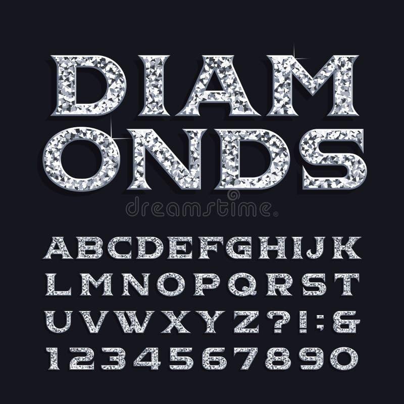 Fuente del alfabeto del diamante Letras y números biselados del trazo de pie del lujo libre illustration