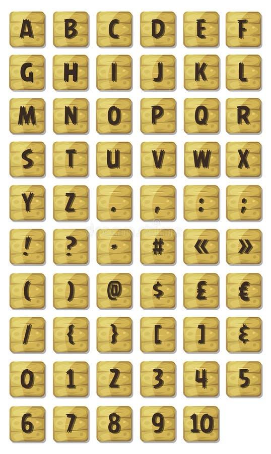 Fuente del alfabeto fijada en las muestras de madera ilustración del vector