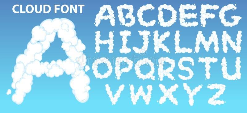 Fuente del alfabeto inglés de la nube stock de ilustración