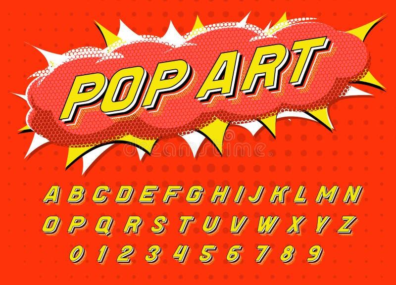 Fuente del arte pop para los carteles Alfabeto retro cómico del juego Tipografía futurista del vintage 80 s, editable y acodado V ilustración del vector