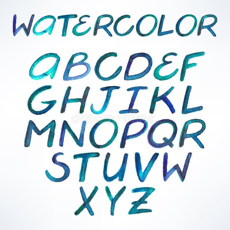 Fuente del azul de la acuarela stock de ilustración