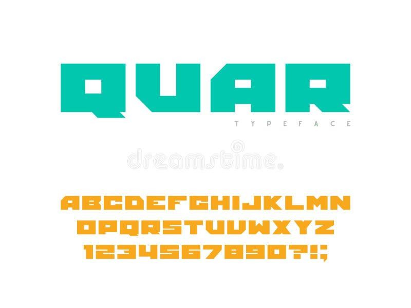 Fuente del bloque cuadrado Letras y n?meros may?sculos latinos del alfabeto Ilustraci?n del vector stock de ilustración