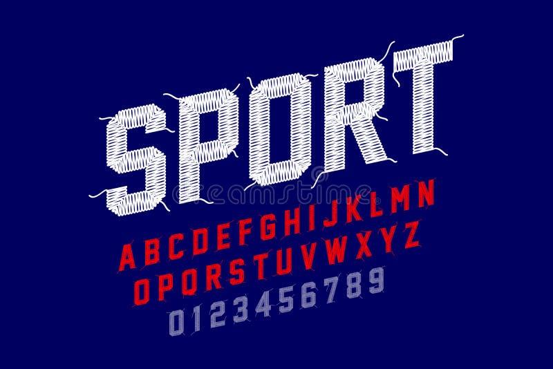 Fuente del bordado, estilo de los deportes libre illustration