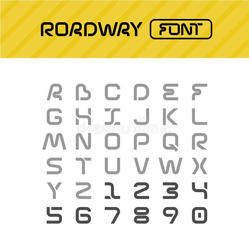 Fuente del camino Conduzca las letras del estilo de la trayectoria de la manera fijadas libre illustration