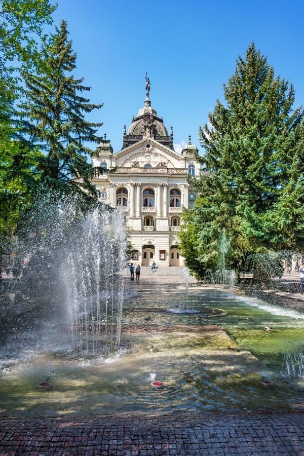 Fuente del canto delante del teatro del estado en la plaza principal en Kosice ESLOVAQUIA foto de archivo libre de regalías