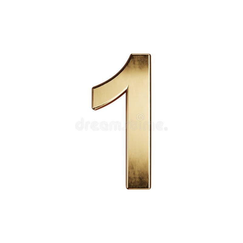 Fuente del carácter 1 del dígito del alfabeto dorado ilustración del vector