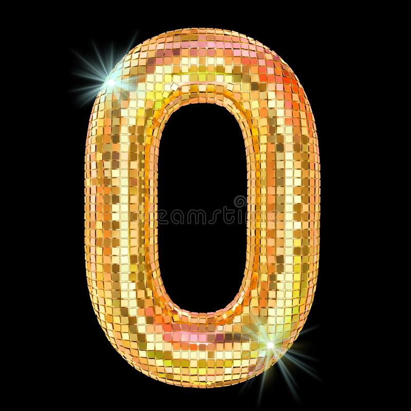 Fuente del disco, número 0 de facetas de oro del espejo del brillo representaci?n 3d stock de ilustración