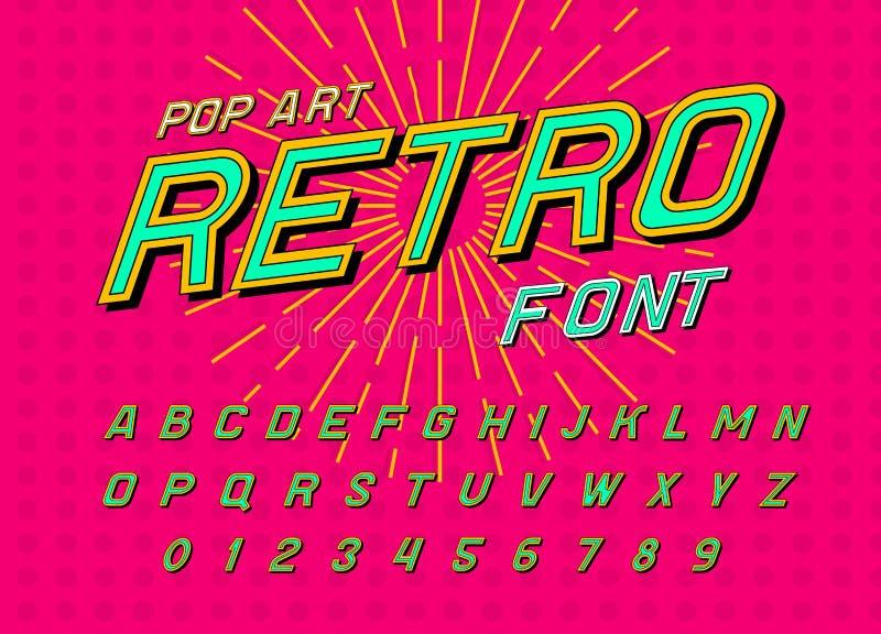 Fuente del disco para los carteles Alfabeto retro cómico Tipografía futurista del vintage 80 s, editable y acodado Vector moderno ilustración del vector