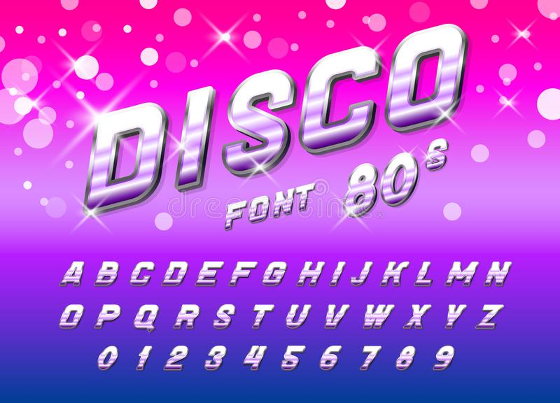 Fuente del disco para los carteles Alfabeto retro cómico Tipografía futurista del vintage 80 s, editable y acodado Vector moderno libre illustration