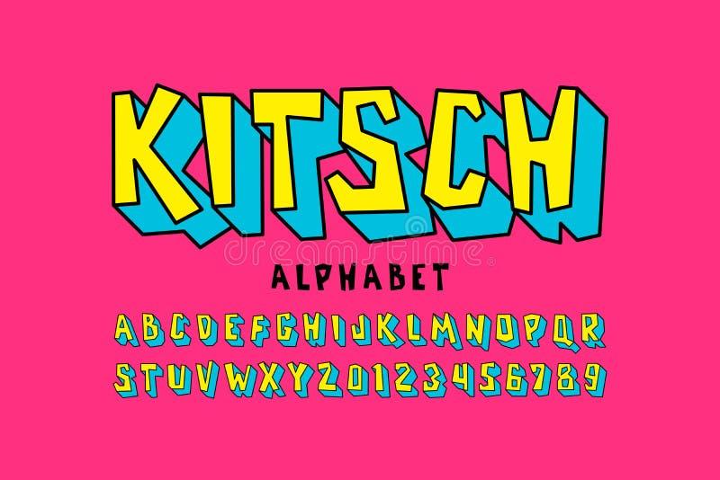 Fuente del estilo de Kitch stock de ilustración