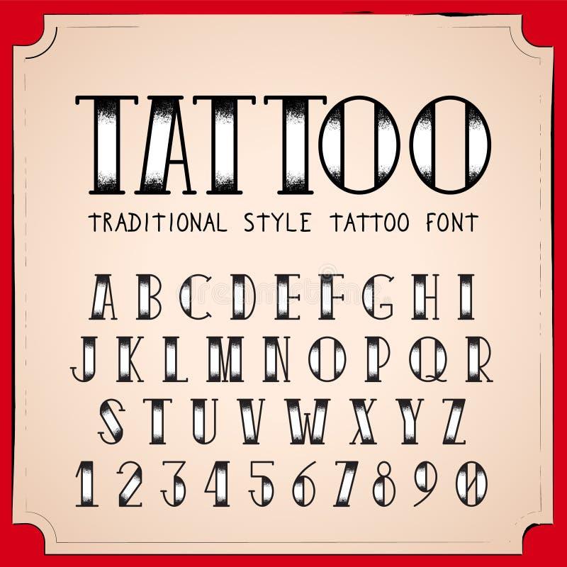Fuente del estilo del tatuaje de la escuela vieja stock de ilustración