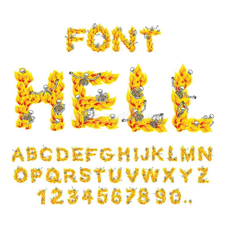 Fuente del infierno infierno ABC Letras del fuego Pecadores en hellfire helli ilustración del vector