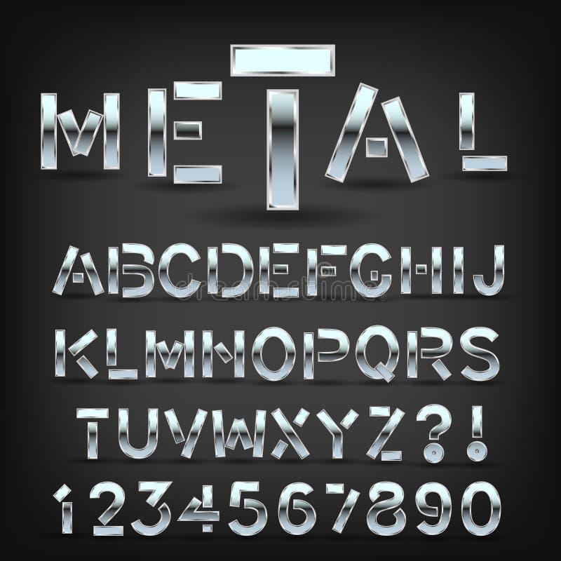 Fuente del metal con la sombra en fondo negro Símbolos y letras de la tipografía de Chrome libre illustration