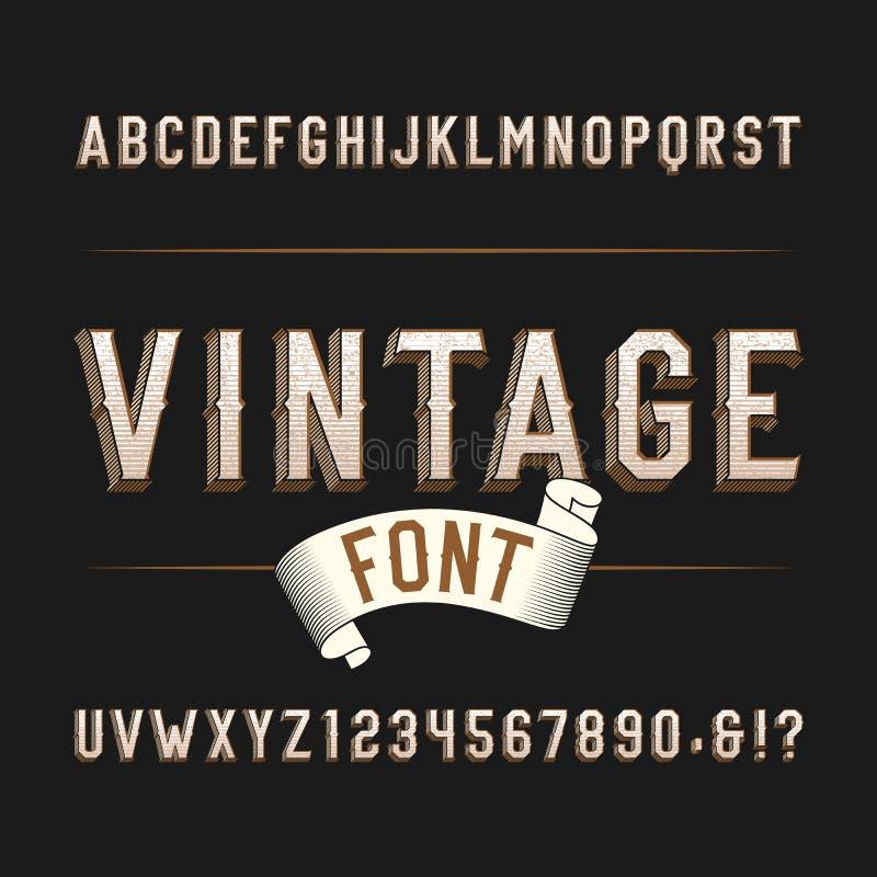 Fuente del oeste salvaje del alfabeto del vintage Letras y números apenados del efecto en un fondo oscuro ilustración del vector