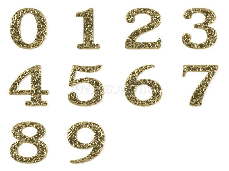 Fuente del oro - números fijados stock de ilustración