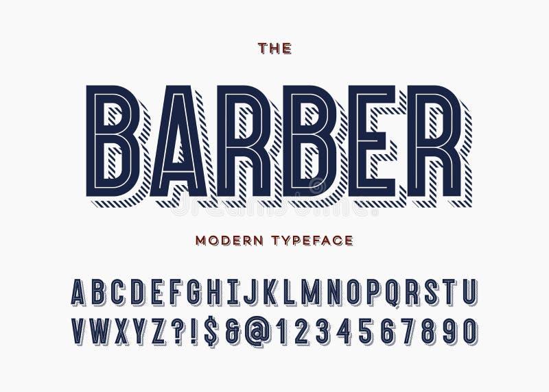 Fuente del peluquero Tipografía moderna de sans serif de la tipografía del alfabeto stock de ilustración