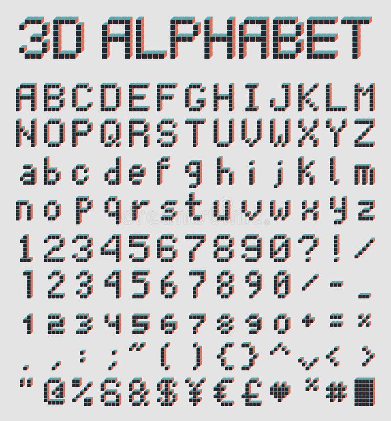 fuente del pixel 3d, alfabeto retro del estilo stock de ilustración