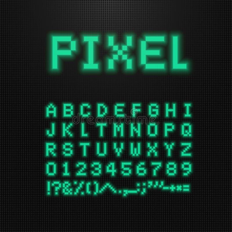 Fuente del pixel, letras del vector, números y muestras en la exhibición llevada ordenador viejo tipografía del videojuego de 8 p ilustración del vector