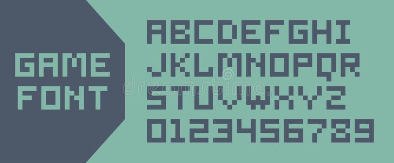 Fuente del pixel del videojuego stock de ilustración