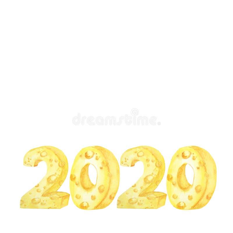 fuente 2020 del queso Ejemplo dibujado mano de la acuarela Año Nuevo de la rata china feliz imagen de archivo libre de regalías