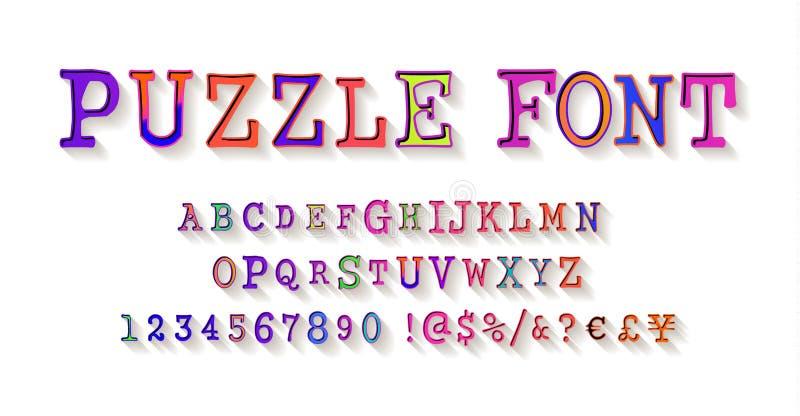 Fuente del rompecabezas, alfabeto del rompecabezas y números stock de ilustración
