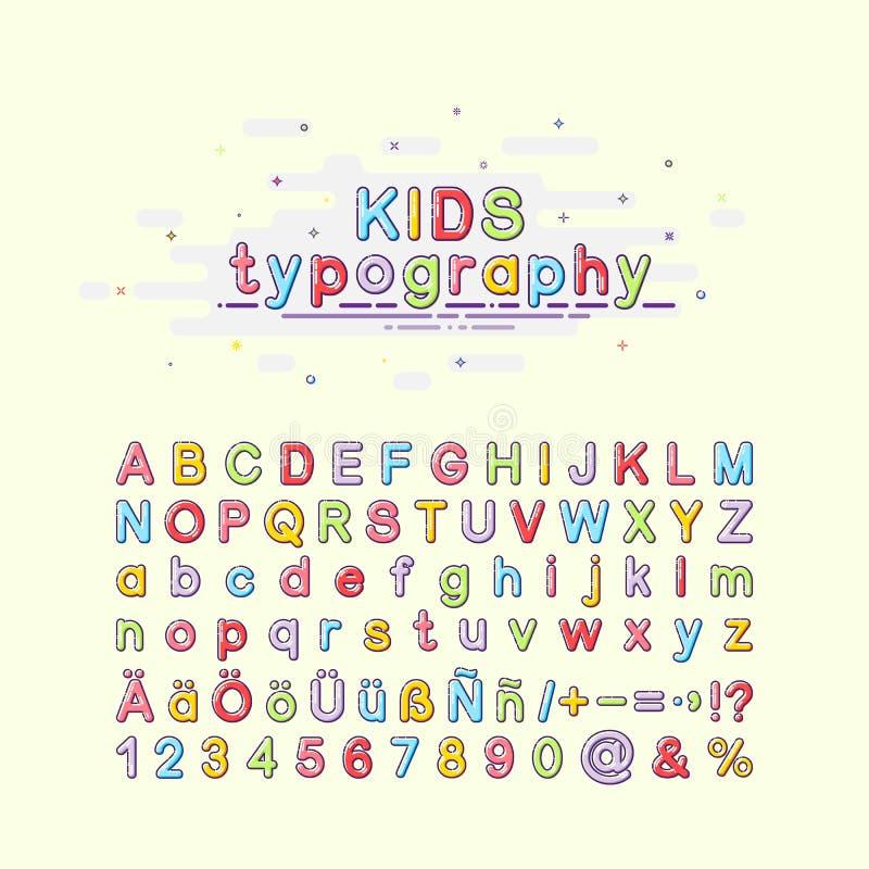 Fuente del ` s de los niños en el estilo del mbe Tipografía colorida de los niños Ejemplo del vector de un alfabeto Inglés, alemá stock de ilustración