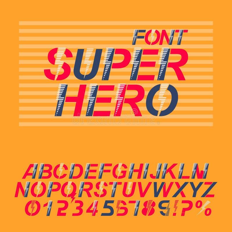 Fuente del super héroe Letras y números del alfabeto en un estilo de los tebeos stock de ilustración