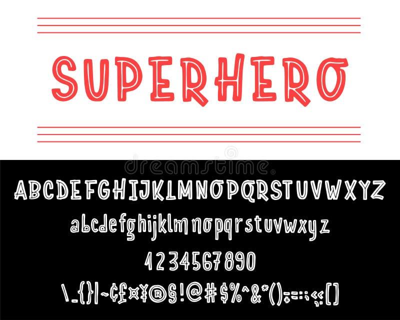 Fuente del super héroe Sistema dibujado mano de la tipografía aislado en blanco Fuente del logotipo del vector Alfabeto de la tip ilustración del vector