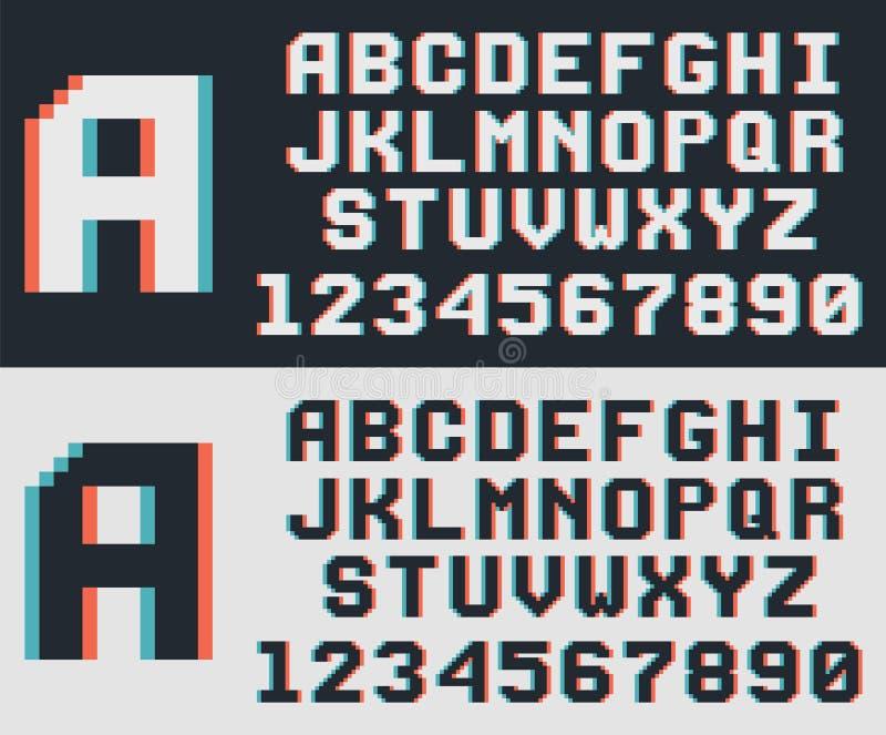 Fuente del videojuego del pixel, letras de 8 bits retras y números ilustración del vector