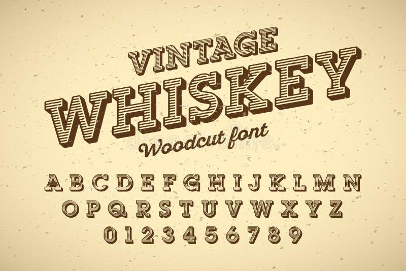 Fuente del vintage del estilo del grabar en madera stock de ilustración