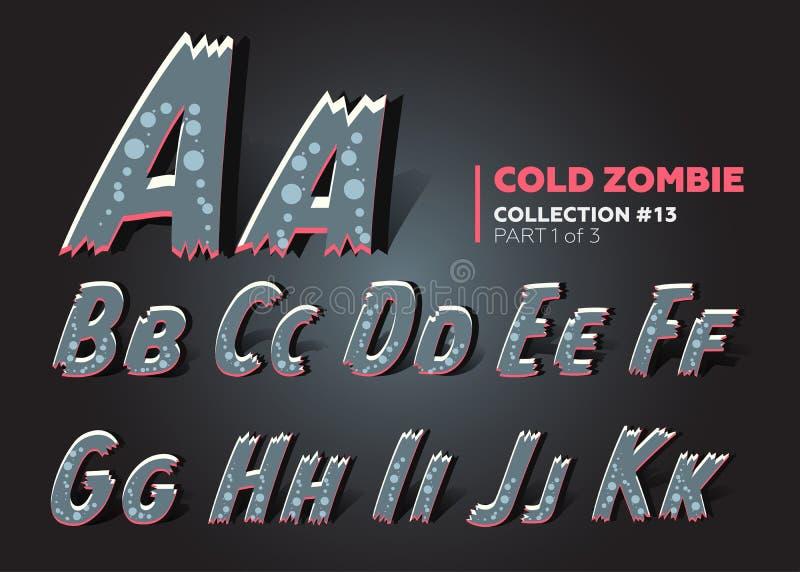 Fuente del zombi del vector de Halloween Alfabeto de Raggy en estilo del horror ilustración del vector